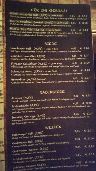 smoked beer menu